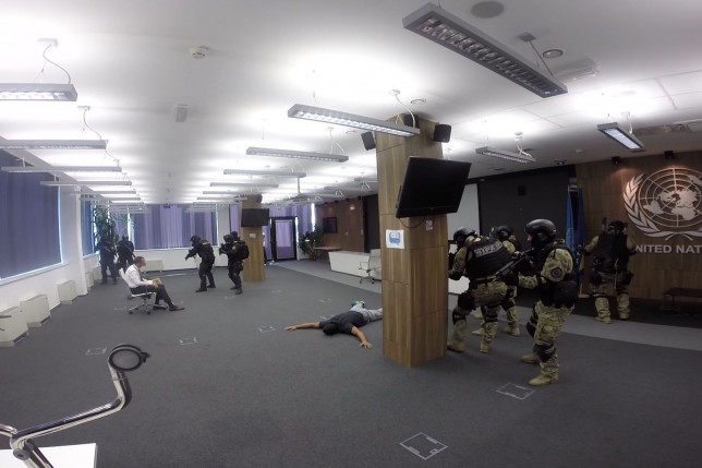 Joint Exercise in UN Building in Sarajevo